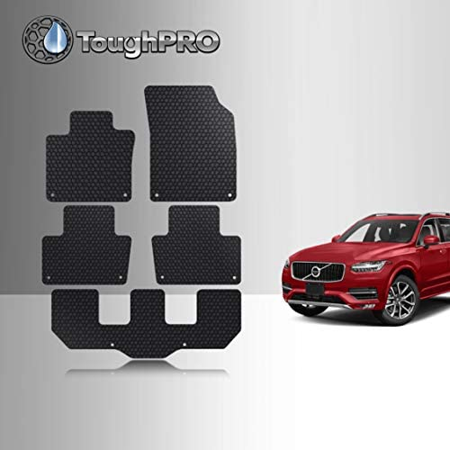 TOUGHPRO Floor Mat Accessories 1st + 2nd + 3rd Row Compatible with Volvo XC90 – All Weather – Heavy Duty – (Made in USA) – Black Rubber – 2016, 2017, 2018, 2019, 2020, 2021
