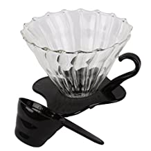 Ocathnon VDG-02B V60 Glass Coffee Dripper Clever Coffee Filter 300ML (Flannel Filtering bag is included) Glass Coffee Pour Over Funnel Dripper (Glass-black)