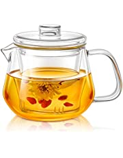 Delicate Glass Teapots with Removable Infuser and Lid for Steeping,Heat Resistance Borosilicate Glass Kettle Perfect for Blooming and Loose Leaf Tea,Microwave oven&Stovetop Safe, 15oz/450ml, By Lezero