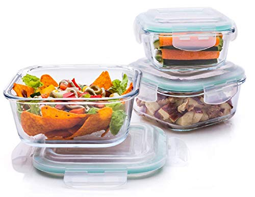 Signoraware Lock 'N' Store High Borosilicate Bakeware Safe Glass Container Square (320ml+520ml+800ml), Set of 3, Transparent Price & Reviews