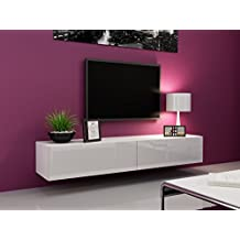 "Seattle TV Stand 180 - TV cabinet with High Gloss fronts - Hanging TV console for up to 80"" TVs (White)"