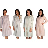 JOTW 4 Pack Long Sleeve Cotton Print Nightgown Sleepwear Dress With Floral Embroidered (502X)