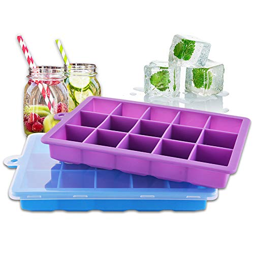 2-Pack Silicone Ice Cube Trays with Lids Easy Release Ice Cube Molds Set for Whiskey, Baby Food Silicone Cake Mold 15 Cavity