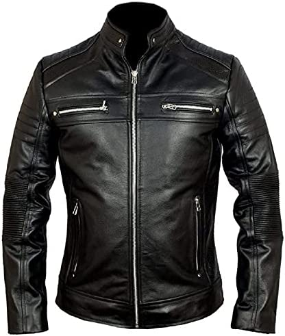 MENS LEATHER JACKET – REAL LAMBSKIN LEATHER JACKET FOR MENS CAFE RACER MOTORCYCLE LEATHER JACKET