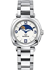 Swiss Made Marvin Women Quartz Watches with Stainless Steel Bracelet and Moon Phase on the White Dial
