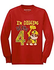 Paw Patrol Rubble Digging 4th Birthday Official Toddler/Kids Long Sleeve T-Shirt