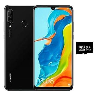 "Huawei P30 Lite (128GB, 4GB RAM) 6.15"" Display, Triple Camera, 32MP Selfie, Dual SIM GSM Factory Unlocked MAR-LX3A - US & Global 4G LTE International Version (Midnight Black, 128GB + 64GB SD Bundle)"