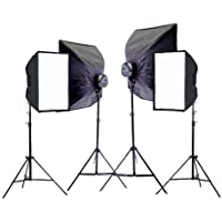 CowboyStudio 4000 Watt Digital Photography and Video Continuous Light Kit with Carrying Cases - 4 light stands, 4 softboxes, 4 Light Heads, 20 photo bulbs