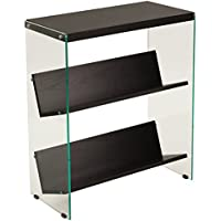 Flash Furniture Highwood Collection Dark Ash Wood Grain Finish Bookshelf with Glass Frame