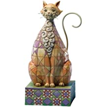 Jim Shore Heartwood Creek Cat with Checkered Pattern Figurine, 7-Inch