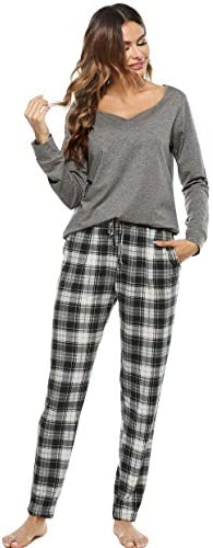 Vlazom Pajamas Set for Women Two Pieces Pjs Sets Long Sleeve Tops and Plaid Pants Sleepwear Loungewear S-XXL