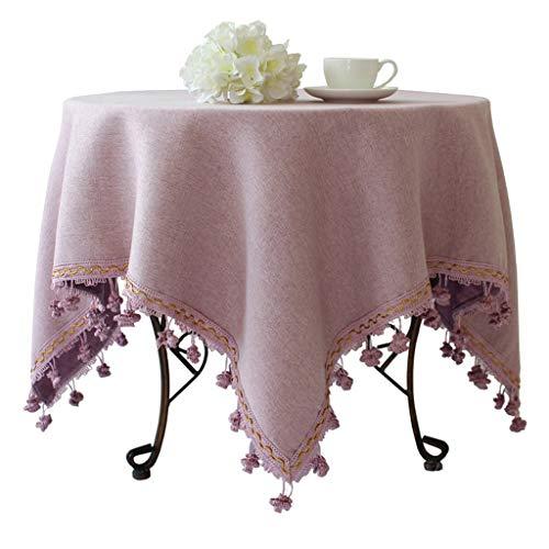 violet 39\ Calyvina Couverture de Table antipoussière en Lin Coton Lavable pour nappes Rondes et voiturerées pour la décoration de Table de Cuisine (Rectangle, Violet),violet,39  Square(100cm)