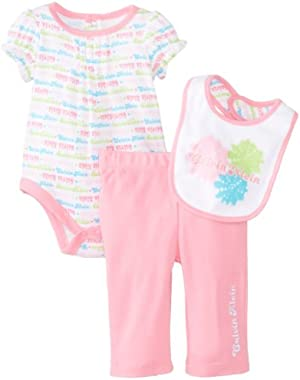 Baby Girls' Creeper with Pull On Pants and Bib
