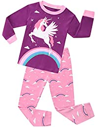 Girls Unicorn Pajamas Clothes Sleepwear 100% Cotton PJS for Toddlers Kids Children