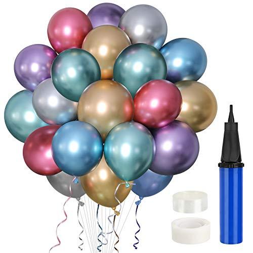 Gafild Globos Metalicos,60 Pcs latex Balloon,Globos de Cumpleanos,Globos de Helio,Globos Boda, para Cumpleanos Decoracion Fiesta Aniversario Baby Shower Comunion