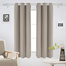 Deconovo Room Darkening Thermal Insulated Grommet Window Curtains Blackout 2 Panels For Living Room Taupe 42x63-Inch