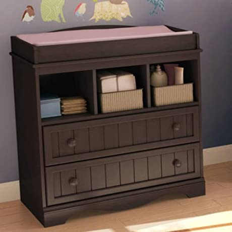 Open Storage Changing Table With Two Drawers Non Toxic Tree Shelves Cabinet Wooden Knobs Extra Space Bedroom Baby Room Multiple Colors Nursery Furniture BONUS E Book Espresso
