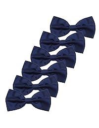 6PCS Boys Children Formal Bow Ties - Adjustable Solid Color Pre Tied Bowties (Navy Blue)
