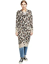 Women's Long Leopard Cashmere Cardigan