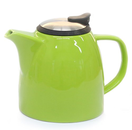 Tealyra Drago Ceramic Teapot with Stainless Steel Lid and Extra-Fine Infuser - 1.1L / 37oz - Lime