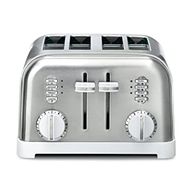 Cuisinart CPT-180W Metal Classic 4-Slice Toaster, White and Stainless