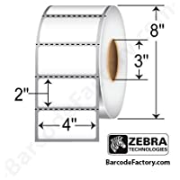 Zebra Technologies 10003051 Z-Perform 1000D Paper Label, Direct Thermal, 4 x 2, 3 Core, 8 OD, 2760 Labels per Roll (Pack of 4)