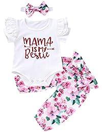 Baby Girl Clothes Baby Girl 3Pcs Outfits Long Sleeve Red Romper + Floarl Long Pants + Headband 3Pcs Set