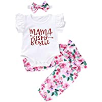 Newborn Girl Clothes Baby Girl Summer Outfits Long Sleeve Red Romper + Floarl Long Pants + Headband 3Pcs Set