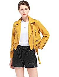 Women's Faux Suede Leather Biker Jacket Belted Coat with Zipper