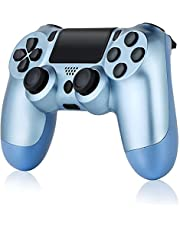 Wireless Controller for PS4, Tiiroy Gamepad Remote Joystick for Playstation 4/Pro/Slim Game Console with 1000mAh Rechargeable Battery, Double Vibration and Audio Function (White + Black)