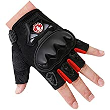 Tactical Gloves, Leather Pated Half Finger Military Gloves for Motor Driving, Outdoor, Camping, Huntin