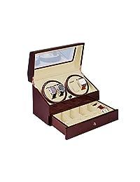 Jebely Automatic Quad Watch Winder 5 STORAGE BOX CASE (Maroon)
