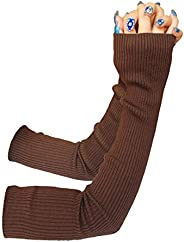 Share Maison Women's Winter Fingerless Stretchy Wool Gloves Long Arm Warmers Fashion Sle