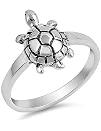 Cute Turtle Girl's Animal Simulated Abalone Water Ring .925 Sterling Silver Band Sizes 5-10