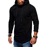 Deals on Solid Pleated Sleeve Hem Curved Long Fleece Hoodie