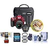 Nikon D3400 DX-Format DSLR Camera Red 35mm 1.8 AF-P DX, 18-55mm F/3.5-5.6G VR, AF-P DX 70-300mm F/4.5-6.3G ED Lenses - Bundle 16GB SDHC Card, 55mm Filter Kit, Cleaning Kit, Mac Software Pack
