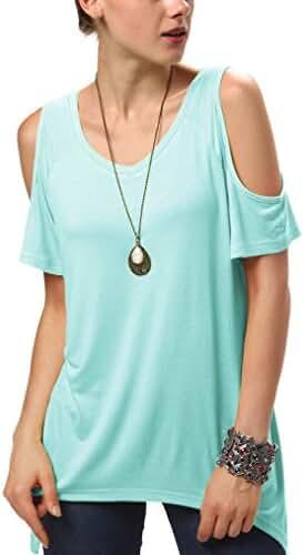 Urban CoCo Women's Vogue Shoulder Off Wide Hem Design Top Shirt - Large - Turquoise