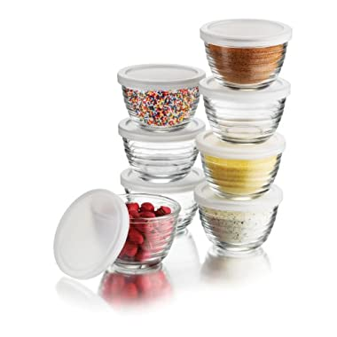 Libbey 16-Piece(8 Glass bowls & 8 Lids) 6.25-Ounce Glass Bowl Set with Plastic Lid, Small, Clear