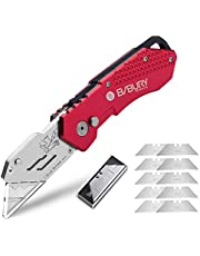Utility Knife, Bibury Portable Folding Utility Art Knife with Extra 10pcs SK5 Stainless Steel Blades, Retractable Paper Carpet Box Cutter with Belt Clip Safety-Lock Design