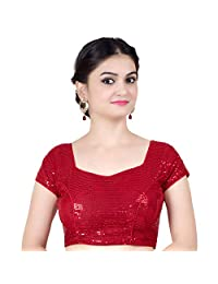 Chandrakala Women's Designer Bollywood Readymade Red Saree Blouse Padded Brocade Choli-Medium (B107RED3)