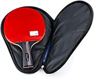 Professional Table Tennis Racket Cover Storage Case for 1 Ping Pong Paddle Bat 3 Balls (Color : Black)