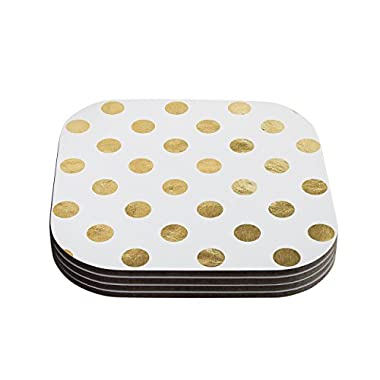 Kess InHouse KESS Original  Scattered Gold  Metallic Coasters, 4 by 4-Inch, Set of 4