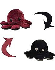 Omkeerbaar octopus speelgoed, schattig octopus knuffeldier, kinderspeelgoed, dubbelzijdige flip octopus speelgoed, knuffelpop voor kinderen, meisjes, jongens, vriendin (donkerrood + zwart)