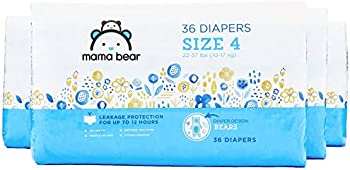 144 Count Mama Bear Diapers Size 4, Bears Print (4 packs of 36)