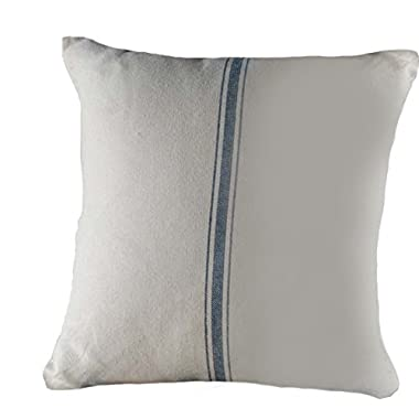 Home Collections by Raghu 18x18 Grain Sack Stripe Colonial Blue-Cream Pillow Cover