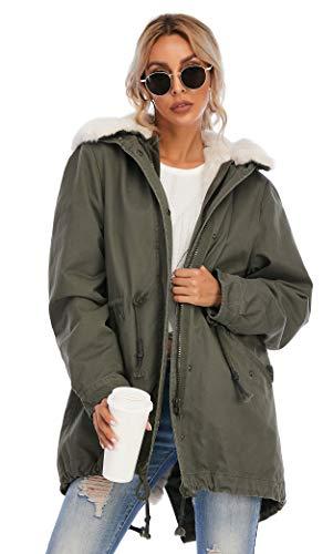 TIENFOOK Womens Parka Jacket Winter Coat with Drawstring Waist Thicken Fur Hood Lined Warm Detachable Design Outwear Jacket (B-Army Green, Large)