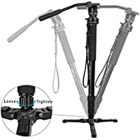 Kamisafe Professional Aluminum Video Monopod Tripod 65/165cm 4-Section Twist Lock Telescoping Legs with Fluid Drag Head and Folding Three Feet Support Stand Base for DSLR Camcorder Shooting Filming