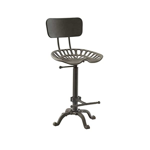 Farmhouse Tractor Seat Stool with Backrest, Industrial Gray