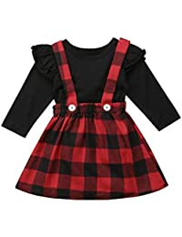 Toddler Baby Girl Infant Plain T Shirts Plaid Overall...