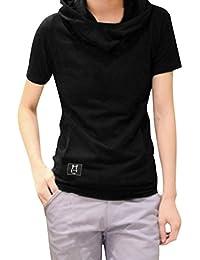Allegra K Men Cowl Neck Short Sleeves Kangaroo Pockets Hoodied T-shirt